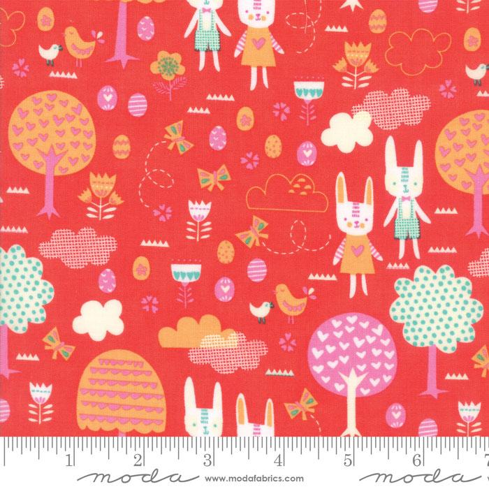 Moda Spring Bunny Fun Geranium 20543 19 Yardage