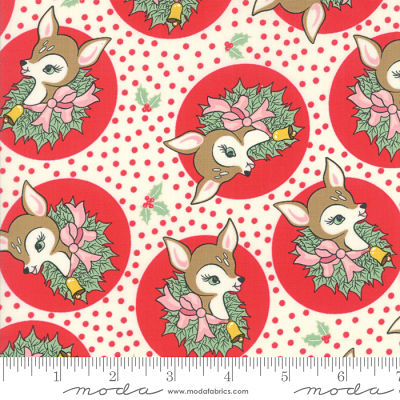 Moda Deer Christmas Peppermint 31161 11 Yardage