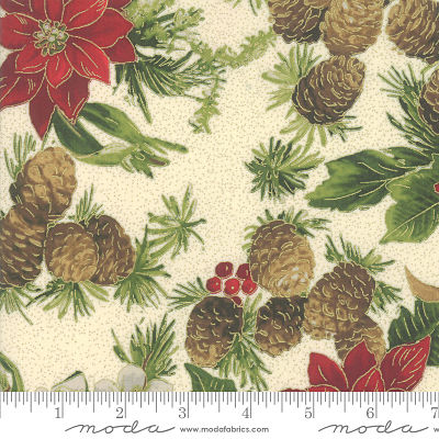 Moda Poinsettias Pine Cream 33510 11M Yardage
