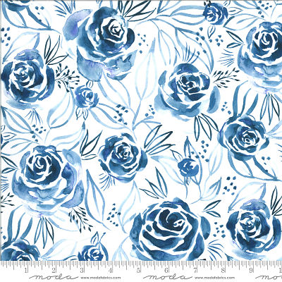 Moda Moody Bloom Digital Indigo 8443 13D Yardage