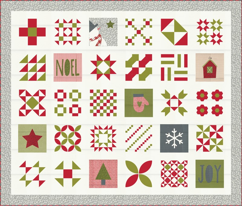 Moda Quilt Kit - Red Barn Christmas by Sweetwater
