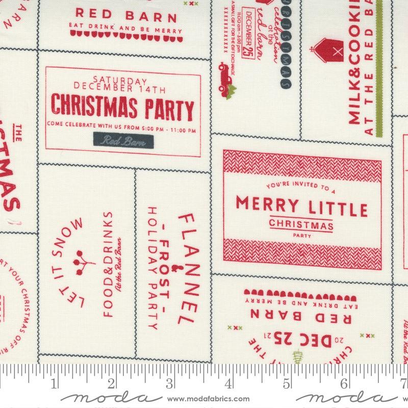 Moda Red Barn Christmas Vanilla Red 55530 24 Yardage