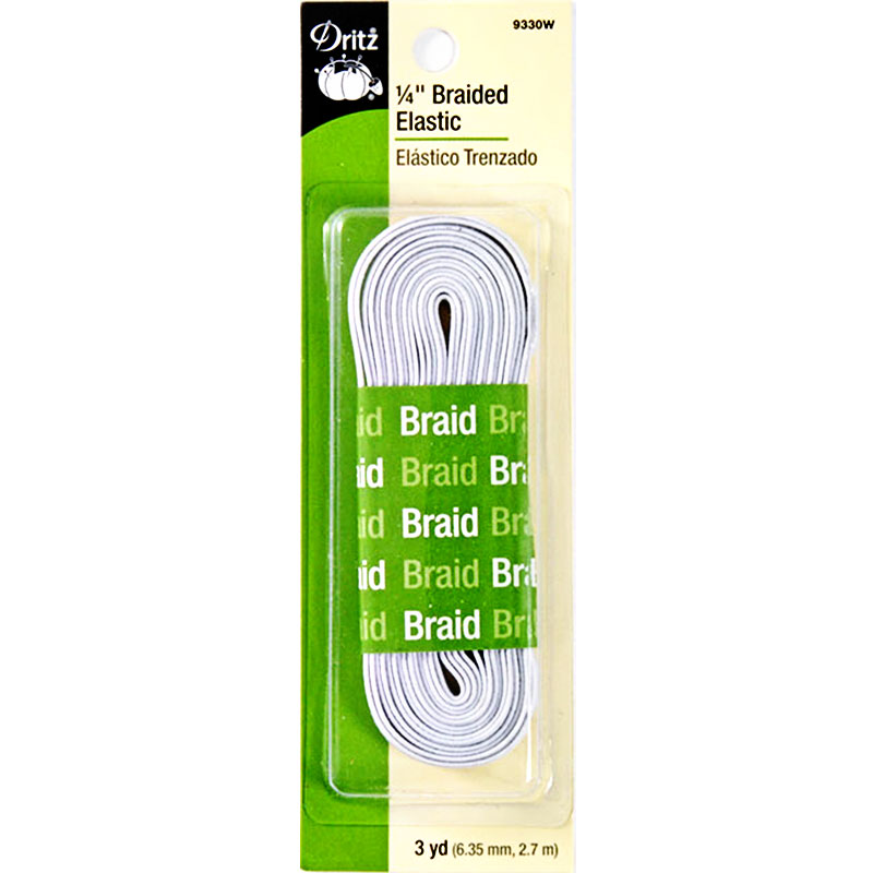 "Braided Elastic 1/4""x3yd White"