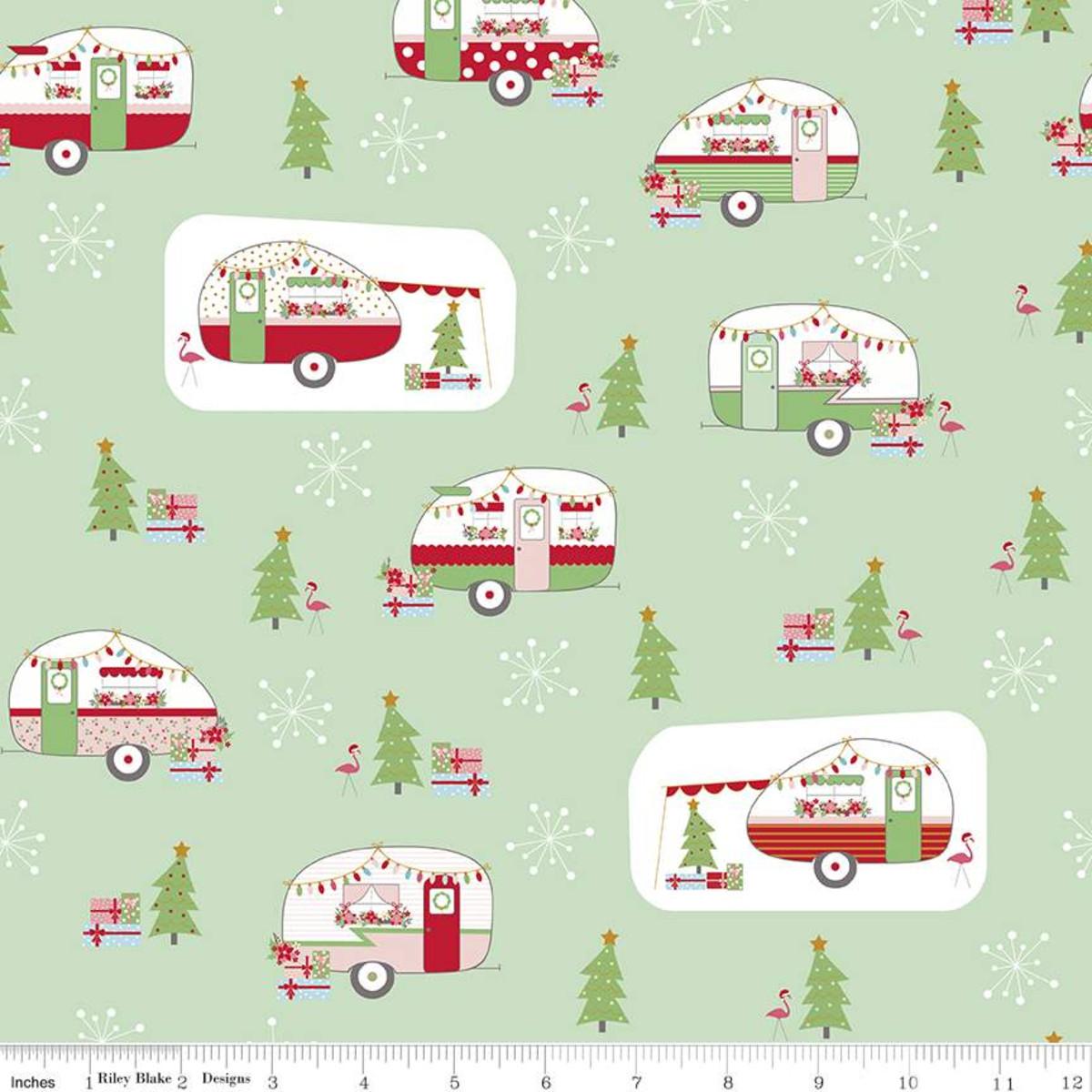 Riley Blake Christmas Adventure Main Sweet Mint Sparkle SC10730 Yardage