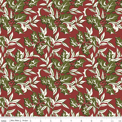 Riley Blake Christmas at Buttermilk Acres Winterberry Red C10901 Yardage