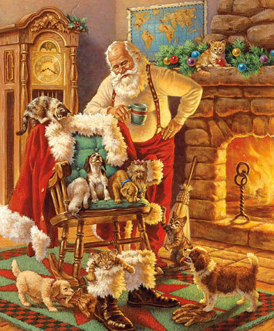 Riley Blake Panel - A Classic Christmas Santa & Friends