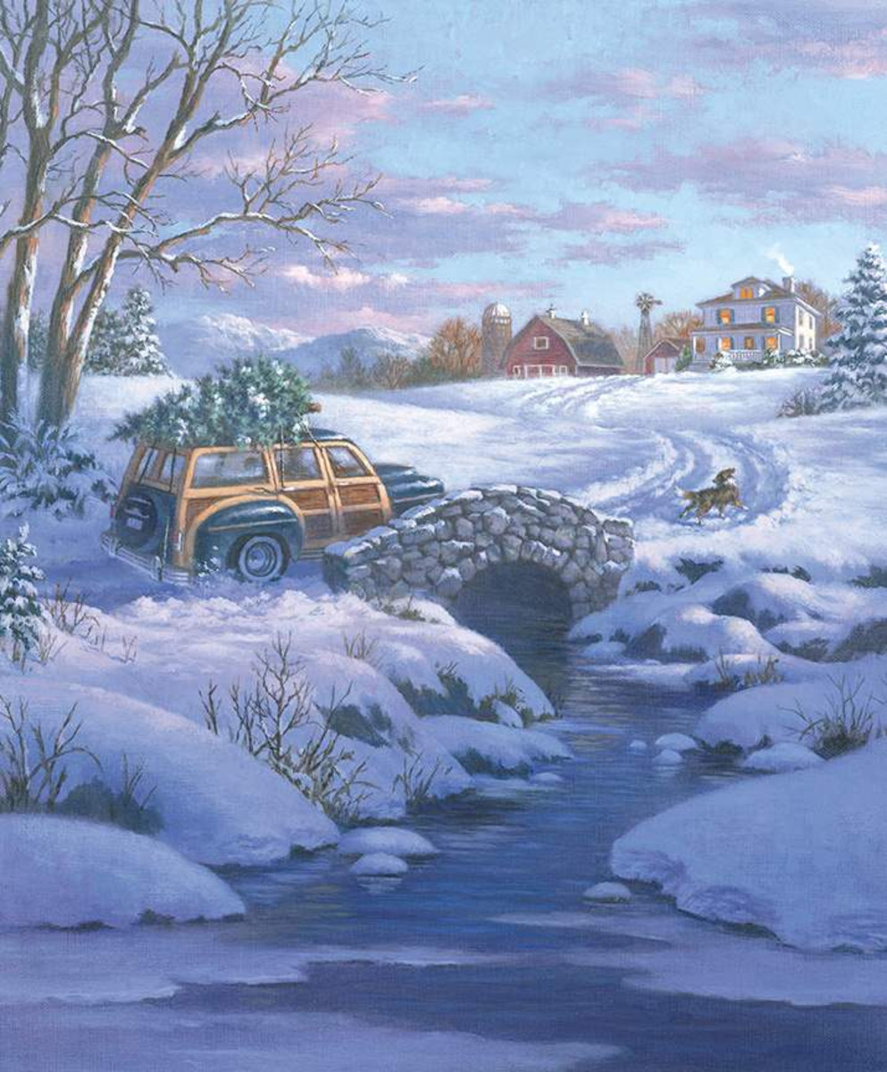 Riley Blake Panel - A Classic Christmas Woody Wagon Farm Scene