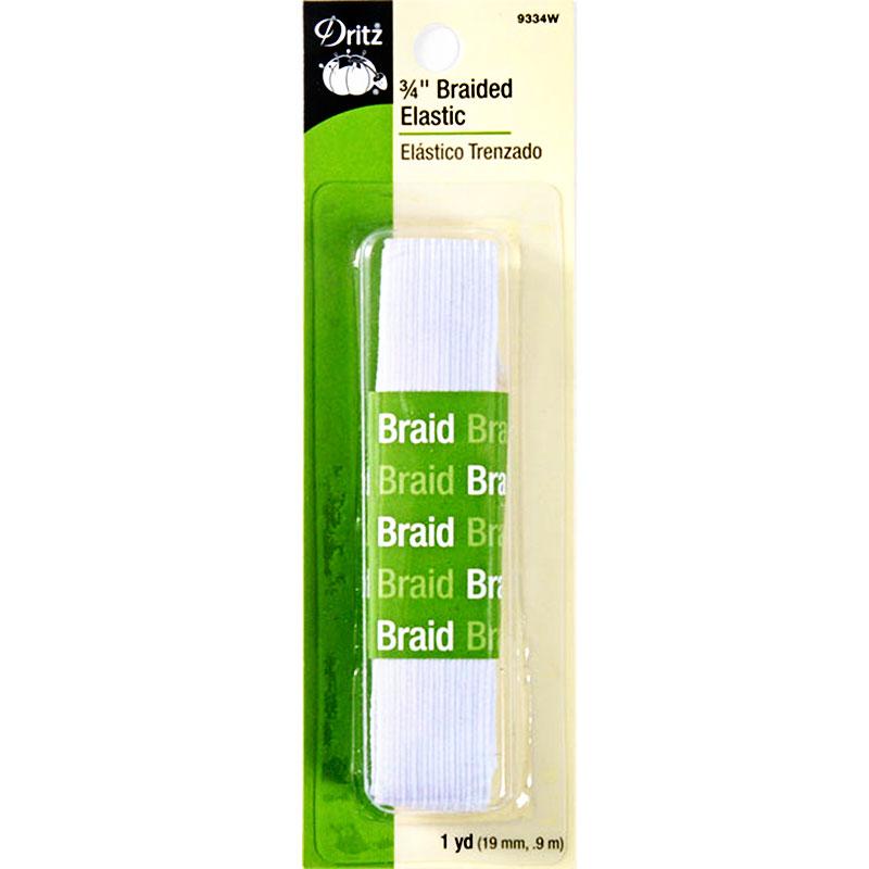 """Braided Elastic 3/4"""" x 1yd White"""