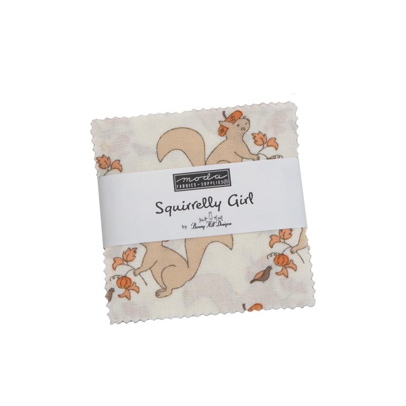 Moda Mini Charm - Squirrelly Girl by Bunny Hill Designs