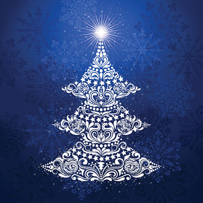 Moda Panel - Gradients Holiday Panel Christmas Tree Ice Blue