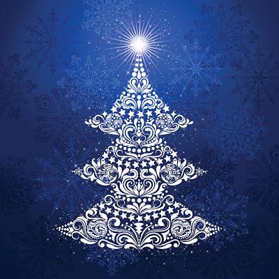Moda Panel - Gradients Holiday Panel Christmas Tree Ice Blue