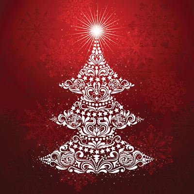 Moda Panel - Gradients Holiday Panel Christmas Tree Ruby