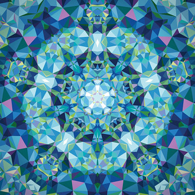 Moda Panel - Gradients Kaleidoscope Blue Flower