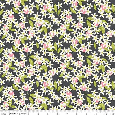 Riley Blake Yardage - Grove Blossoms Charcoal by Jill Finley