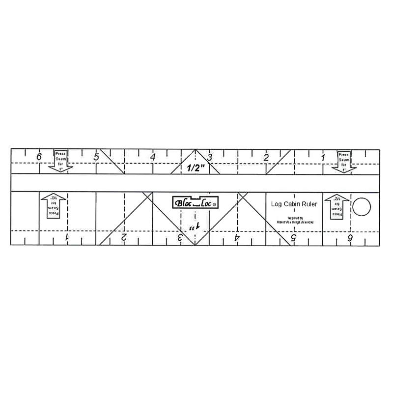 """Log Cabin Bloc Loc Ruler 1/2"""" & 1"""""""