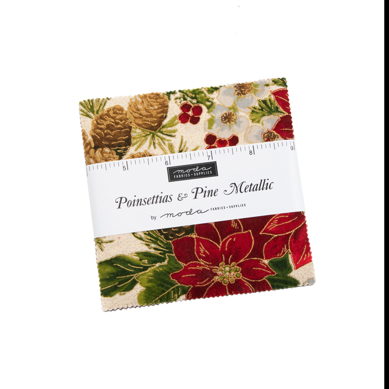 Moda Charm Pack - Poinsettias & Pine by Moda