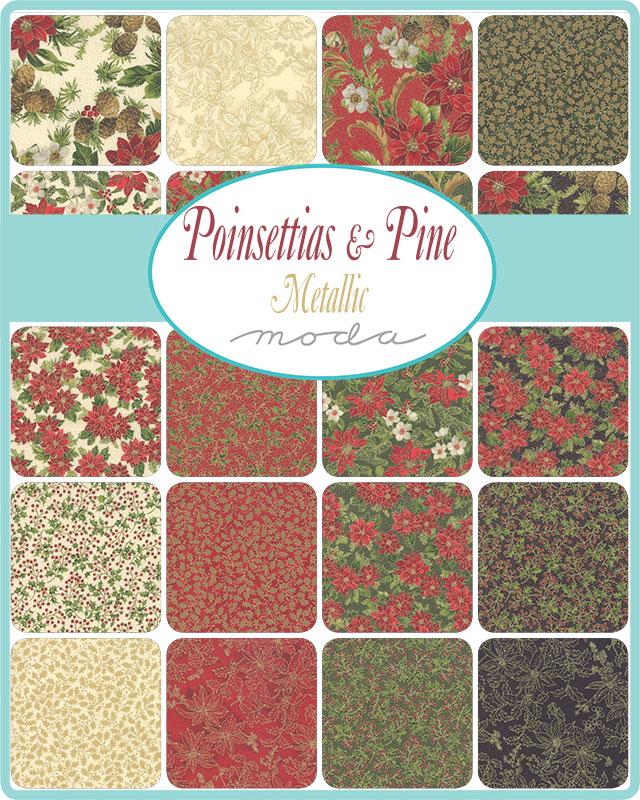 Moda Fat Eighth Bundle - Poinsettias & Pine by Moda