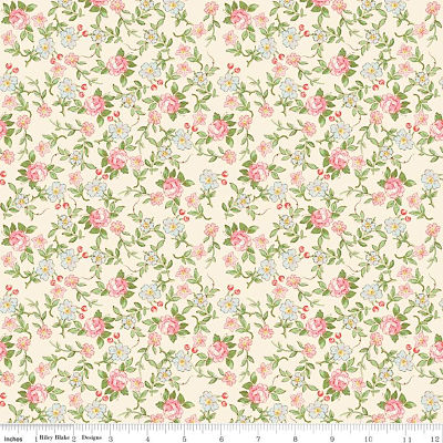 Riley Blake Rose & Violet's Garden Sweet Blossoms Cream Yardage