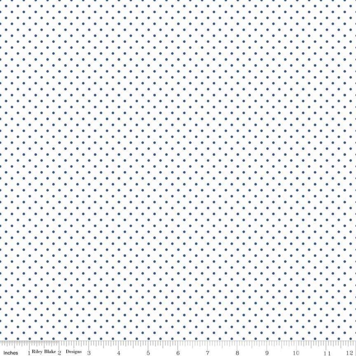 Riley Blake Swiss Dot On White Denim Yardage