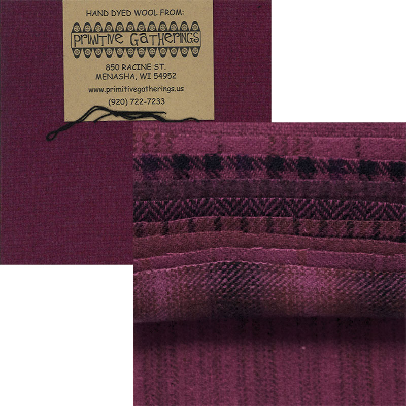 Moda Charm Pack - Wool Red Grape by Primitive Gatherings